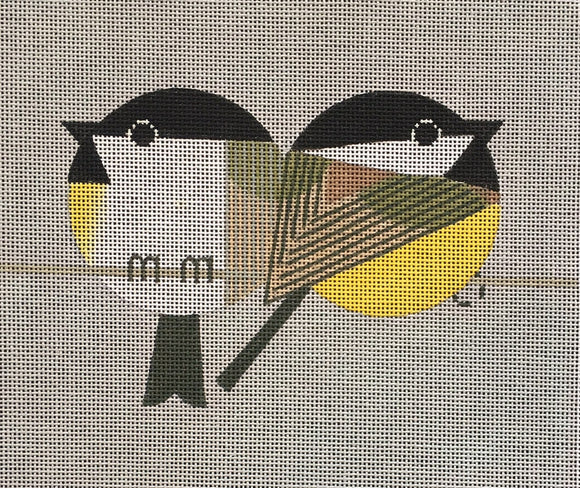 Scott Partridge geometric circular chickadee birds on a wire needlepoint canvas