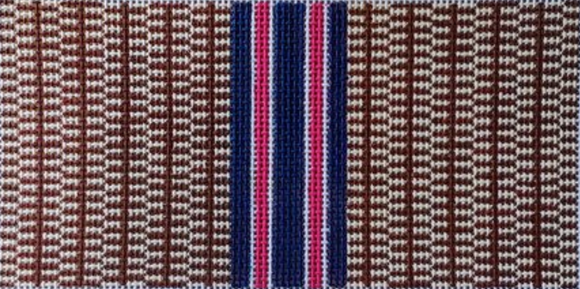 Anne Fisher preppy needlepoint canvas for a glasses/eyeglasses case with a basket weave pattern and vertical navy and pink stripes