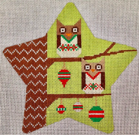 Eye Candy star shaped needlepoint canvas of two owls on branches with Christmas ornaments
