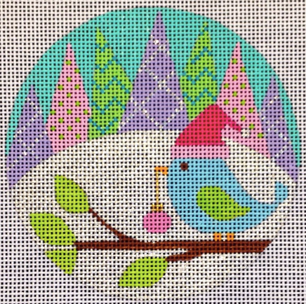 Eye Candy bright round needlepoint canvas of a bird on a branch wearing a Santa hat and pine trees in the background in a vibrant pastel color palette