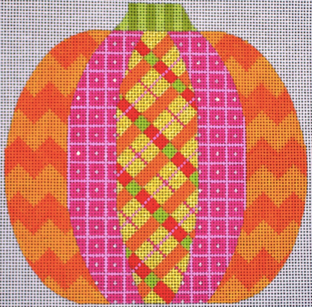 Bright geometric pumpkin needlepoint canvas from Eye Candy with zig zags and plaid
