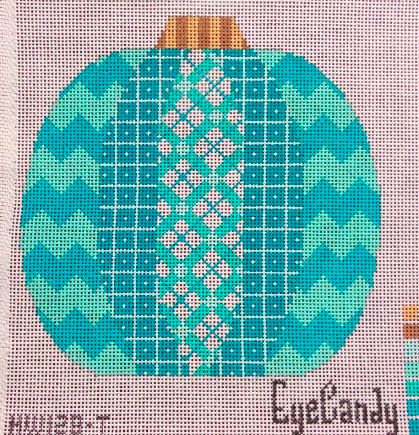 Eye Candy pumpkin needlepoint canvas in aqua and turquoise with zig zags and plaid