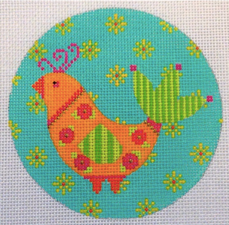 Eye Candy round needlepoint canvas of a bright vibrant mod bird with floral pattern