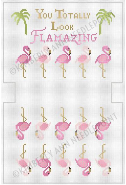 Kimberly Ann preppy needlepoint canvas for a purse with flamingos and palm trees that says