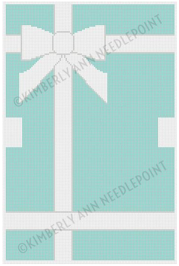 Kimberly Ann preppy needlepoint canvas for a purse patterned with the Tiffany blue package and bow