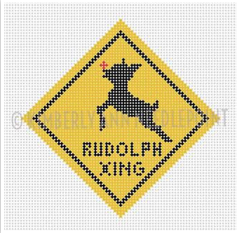 Kimberly Ann Christmas road sign needlepoint canvas yellow diamond Rudolph the reindeer xing/crossing