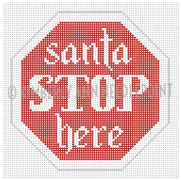 Kimberly Ann Christmas road sign needlepoint canvas of a stop sign for Santa