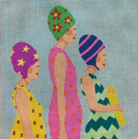A Stitch in Time bright needlepoint canvas swimmers with swim caps