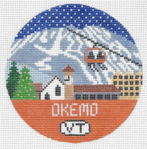 Okemo Vermont round needlepoint canvas with scenery of the town and Christmas trees and mountain ski slopes