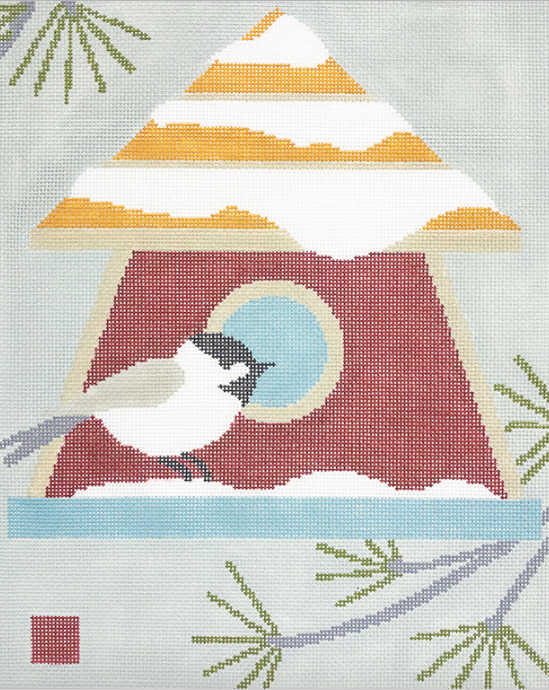 3K designs needlepoint canvas of a chickadee on a yellow and red birdhouse with snow and pine tree branches