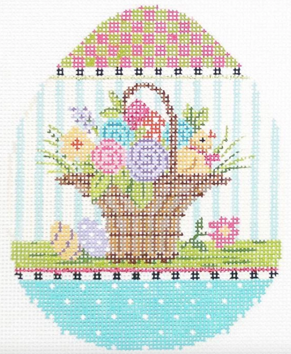 Kelly Clark Easter egg needlepoint canvas of a basket of flowers with a chick and an egg and a pastel border