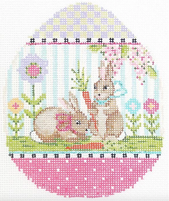 Kelly Clark Easter egg needlepoint canvas of two bunny rabbits with a pastel border