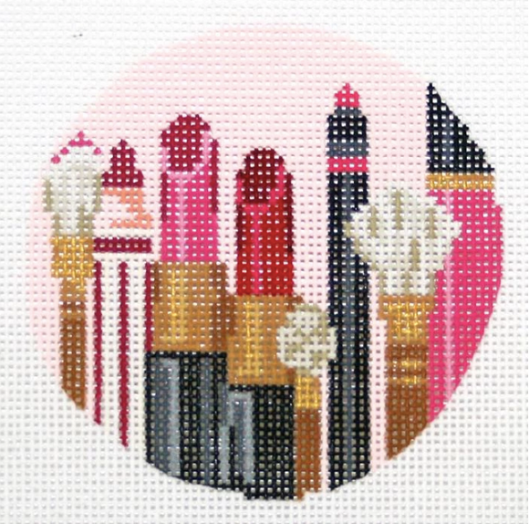 Kelly Clark needlepoint canvas of makeup brushes and lipstick sized for self-finishing boxes