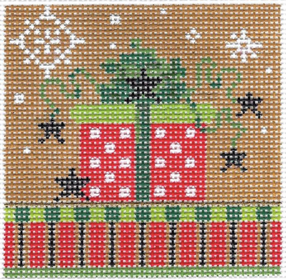 Kelly Clark Christmas needlepoint canvas of a wrapped package with snowflakes sized for a self-finishing box (insert)