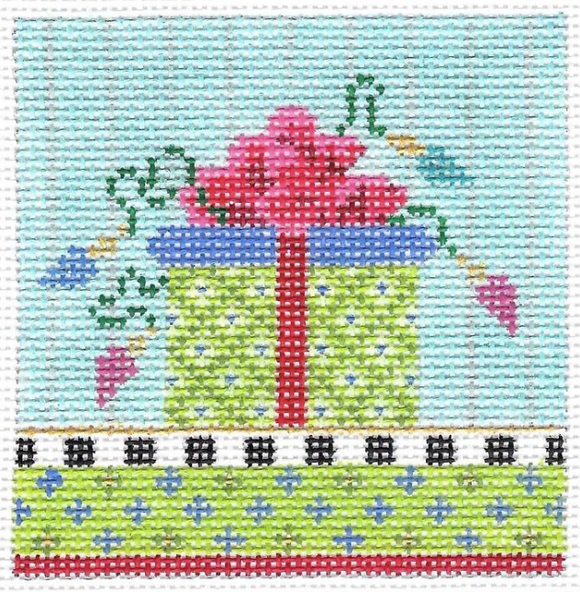 Kelly Clark needlepoint canvas of a wrapped gift package in lime green with a hot pink bow and decorative lights sized for a self-finishing box (insert)