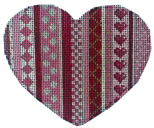 Associated Talents preppy heart shaped needlepoint canvas with vertical stripes