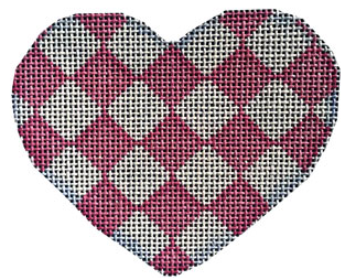 Associated Talents preppy heart shaped needlepoint canvas with pink harlequin diamond pattern