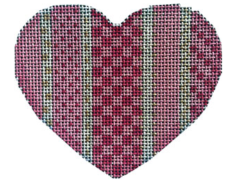 Associated Talents preppy heart shaped needlepoint canvas with stripes and checkers in shades of pink