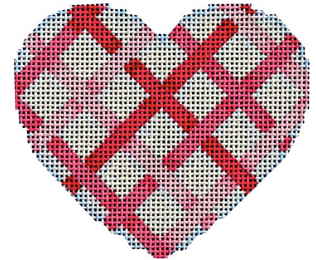 Associated Talents heart shaped preppy needlepoint canvas with woven plaid ribbon pattern