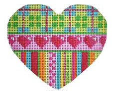 Associated Talents heart shaped preppy needlepoint canvas with plaid stripes and small hearts