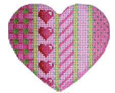 Associated Talents heart needlepoint canvas with vertical pink and green stripes