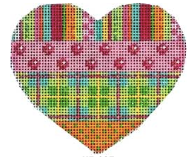 Associated Talents preppy heart shaped needlepoint canvas with polka dots and plaid