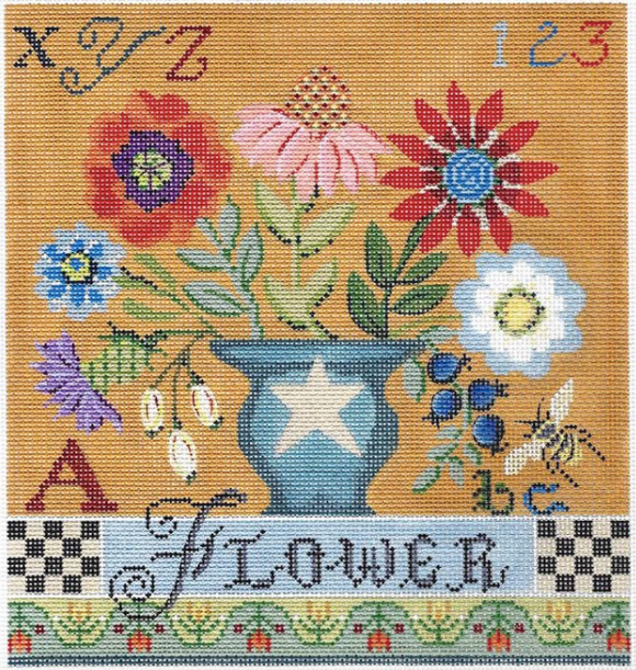 Kelly Clark needlepoint canvas of a floral sampler