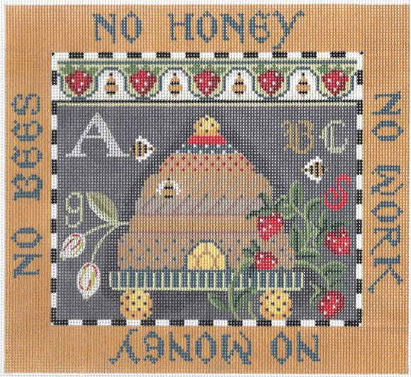 Kelly Clark needlepoint canvas of a sampler with a beehive/bee skep
