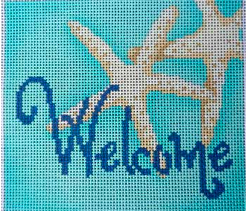 Associated Talents preppy welcome sign needlepoint canvas blue with starfish