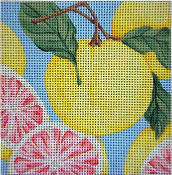 Associated Talents bright needlepoint canvas of a cluster of grapefruit citrus