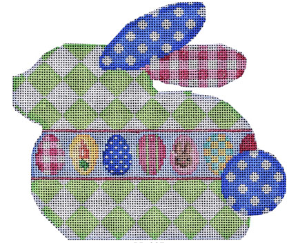 Associated Talents bunny rabbit shaped needlepoint canvas with harlequin body and Easter eggs