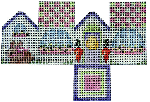 Associated Talents preppy Easter needlepoint canvas of a three dimensional 3D house with a bunny rabbit and carrots
