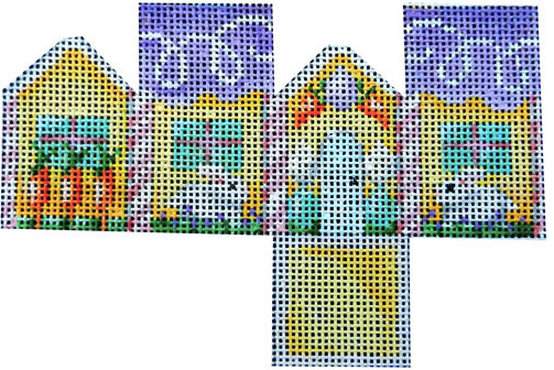 Associated Talents preppy Easter needlepoint canvas of a three dimensional 3D house with bunny rabbits and carrots