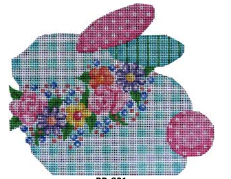 Associated Talents bunny rabbit shaped needlepoint canvas with plaid body and floral collar