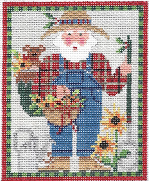 Kelly Clark needlepoint canvas of a Santa in his garden with sunflowers