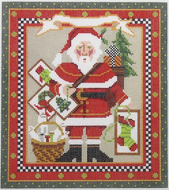 Kelly Clark needlepoint canvas of a Santa with stitching projects