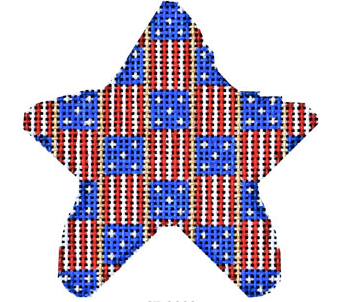 Associated Talents star shaped needlepoint canvas with American patriotic flag stripes