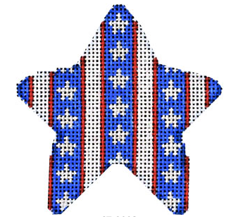 Associated Talents star shaped needlepoint canvas with American patriotic vertical stripes and stars