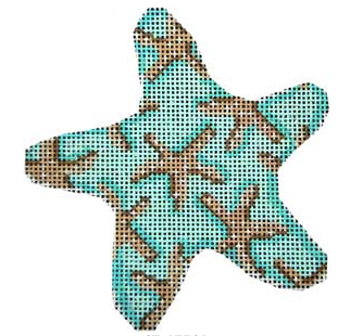 Associated Talents preppy starfish shaped aqua turquoise blue needlepoint canvas patterned with starfish