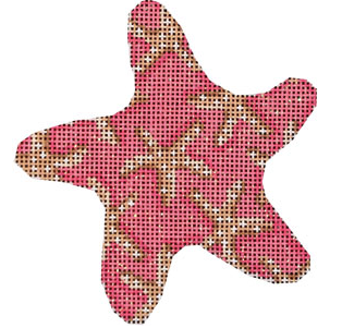 Associated Talents preppy starfish shaped pink needlepoint canvas patterned with starfish