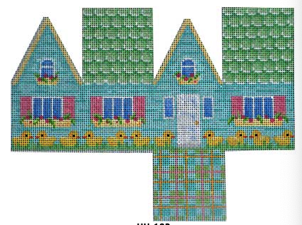Associated Talents preppy Easter needlepoint canvas of a three dimensional 3D house with chicks