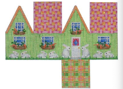Associated Talents preppy Easter needlepoint canvas of a three dimensional 3D house with bunny rabbits