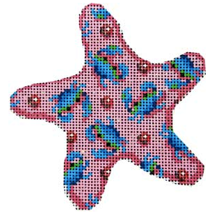 Associated Talents preppy starfish shaped pink needlepoint canvas with blue crabs