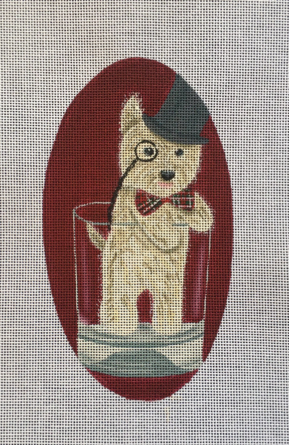Fab Funky whimsical needlepoint canvas of a Westie terrier dog in a Scotch glass wearing a monocle and a top hat