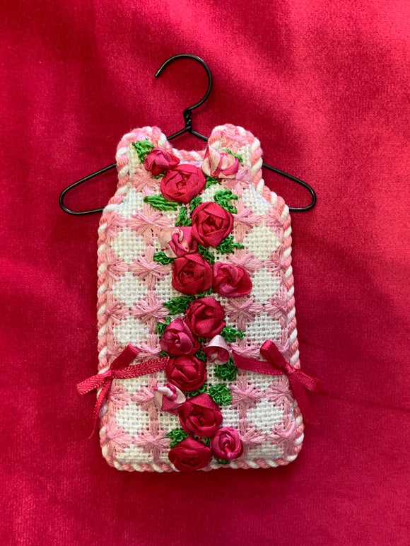 Stitched and finished example of the Two Sisters rose harlequin mini shift needlepoint canvas