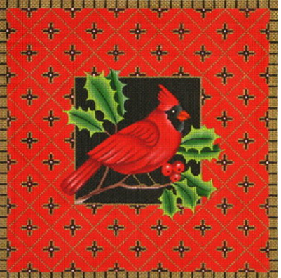 Amanda Lawford cardinal needlepoint canvas with holly leaves and geometric red background and gold border