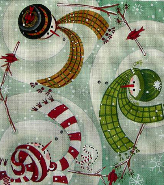 Ewe and Eye winter whimsical needlepoint canvas of three snowmen wearing hats and scarves dancing with cardinals (swirling snowmen)