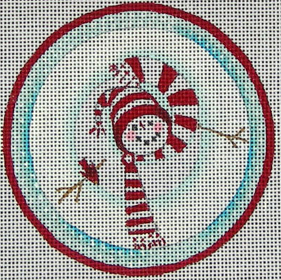 Ewe and Eye whimsical needlepoint canvas of a snowman viewed from above wearing a candy cane striped  hat and a scarf - the perfect Christmas ornament!