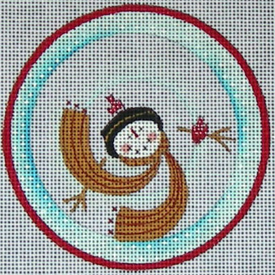 Ewe and Eye whimsical needlepoint canvas of a snowman viewed from above wearing a hat and a scarf - the perfect Christmas ornament!