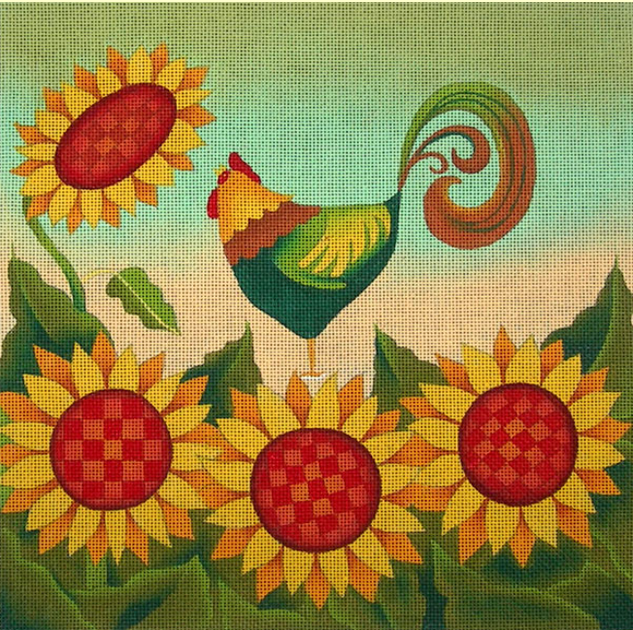 Ewe and Eye needlepoint canvas of a rooster with sunflowers and a sunrise sky
